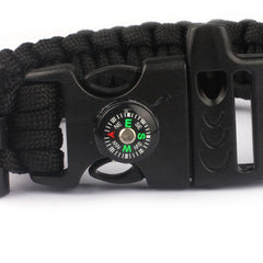 Paracord Survival Bracelet with Compass/Whistle Buckle