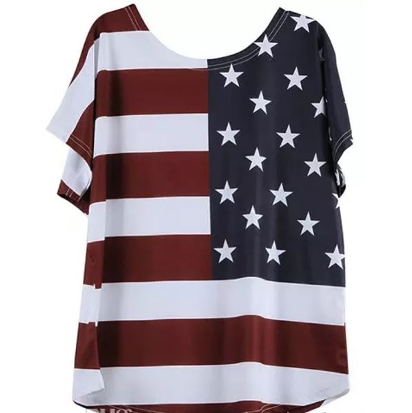 Plus Size American Flag Top