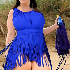 Plus Size Fringed One Piece Suit