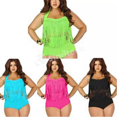 Plus Size High Waisted Fringe Swim Suit