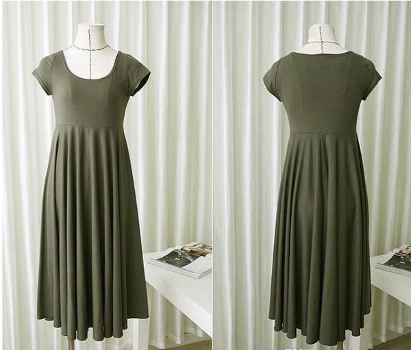 Short Sleeve Maternity Dress - Grey, Green or Black