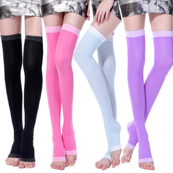 Slimming Open Toe, Over the Knee Fashion Compression Hosiery- Black, Green, Pink or Purple