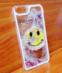 Smiley Face Glitter Phone Case for Iphone 6 or 6 Plus - Blue, Pink, White or Yellow