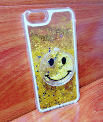 Smiey Face Glitter Phone Case for iPhone 6 - Yellow