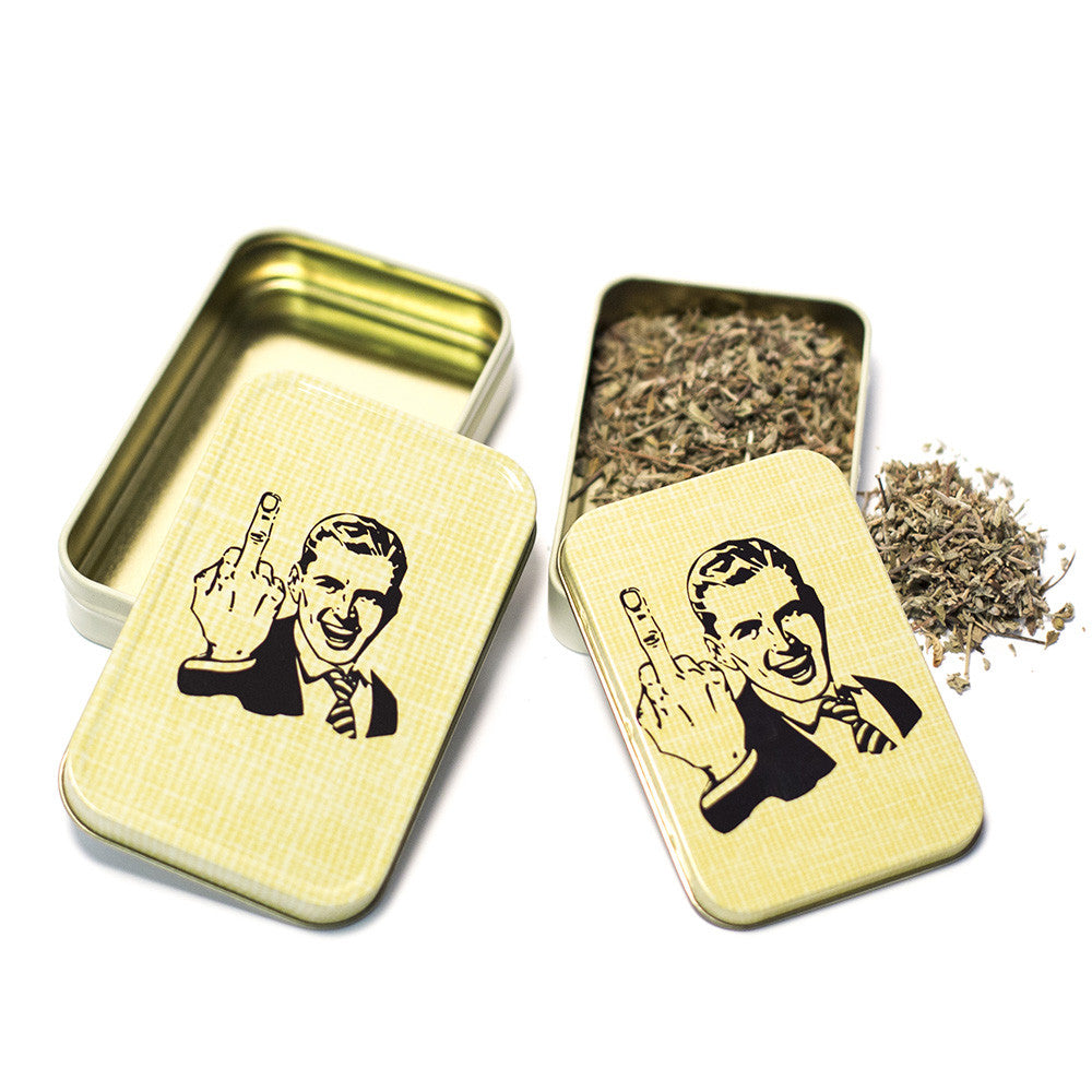 METAL TIN - THE FINGER YELLOW SET OF 2