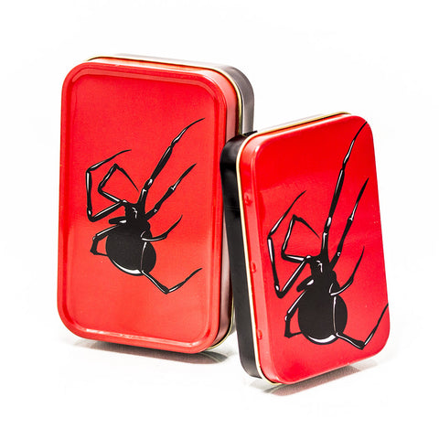 METAL TIN - BLACK SPIDER SET OF 2