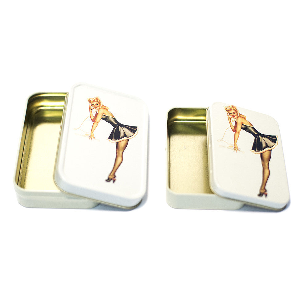 METAL TIN - BLONDE MAID PIN UP SET OF 2