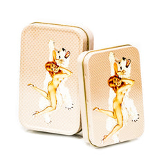 METAL TIN - BEAR NAKED RED HEAD SET OF 2