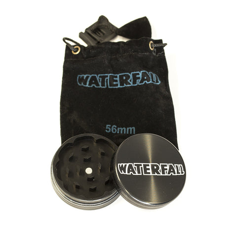 GRINDER - 56mm CNC 2 PART ALUMINIUM WITH LOGO & POUCH - ASST COLOURS