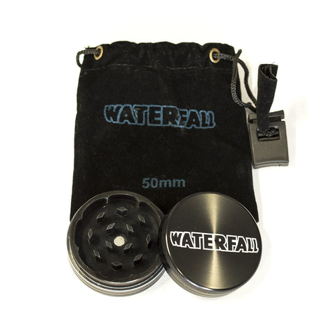 GRINDER - 50mm CNC 2 PART ALUMINIUM WITH LOGO & POUCH - ASST. COLOURS