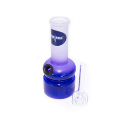 WATERFALL - PLAYFUL MINI BONG - BLUE & FROSTED WHITE