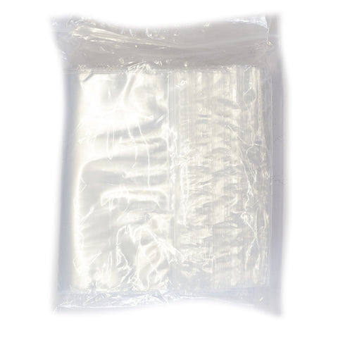 PLASTIC BAG ZIP - 150mmX205mm RED STRIPE P/S BAG (100)
