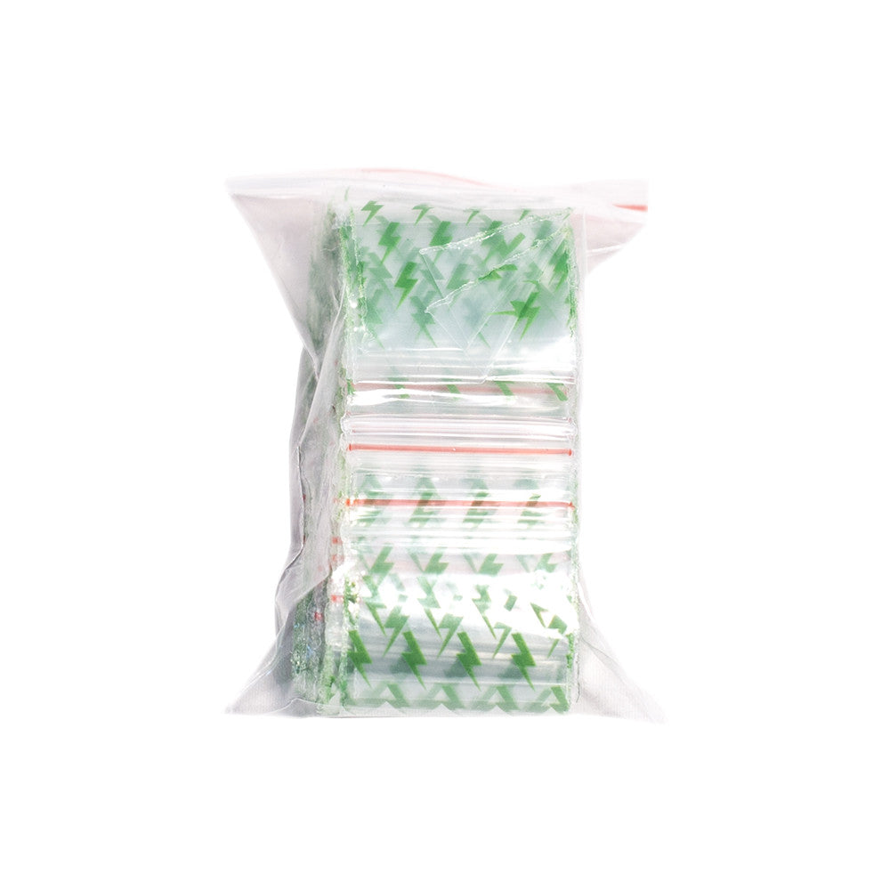 PLASTIC BAG ZIP - PRINTED 25mm x 25mm (X100)