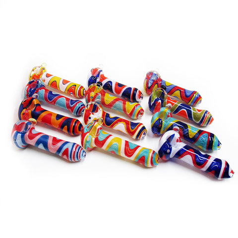 PIPE - GLASS ZIG ZAG ASST/COLOURS