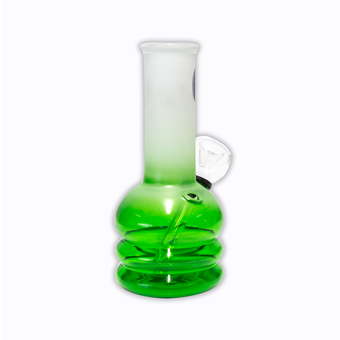 WATERFALL - LOVE MINI BONG - CLEAR GREEN & FROSTED WHITE