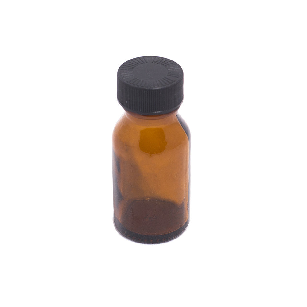 BOTTLE - SMALL BROWN GLASS WITH LID