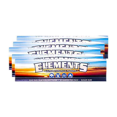 5 PACK - ELEMENTS KINGSIZE SLIM – SMOKING PAPERS