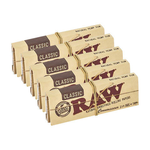 5 PACK - RAW CONNOISSEUR ¼ + TIPS