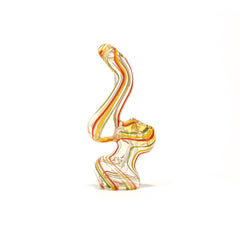 GLASS BUBBLER - RED, YELLOW & GREEN STRIPES