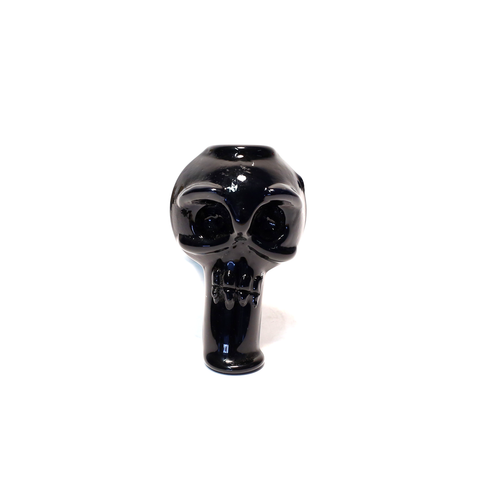 SKULL GLASS DRY PIPE - BLACK