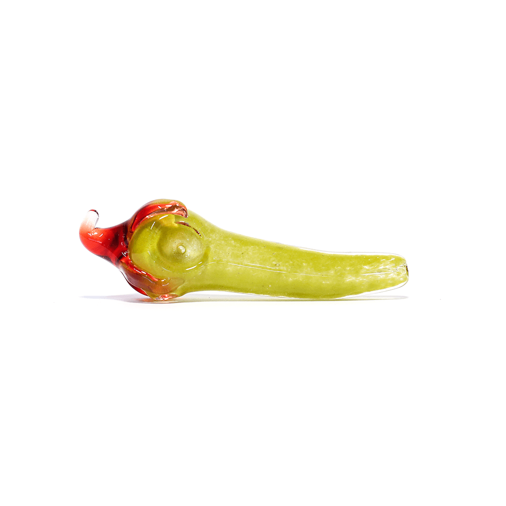 CHILLI GLASS PIPE - RED CHILLI GREEN STEM