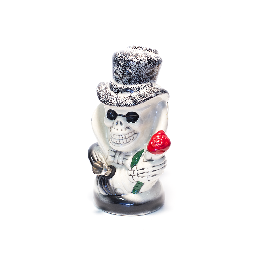 SLASH SKULL BLACK CERAMIC BONG
