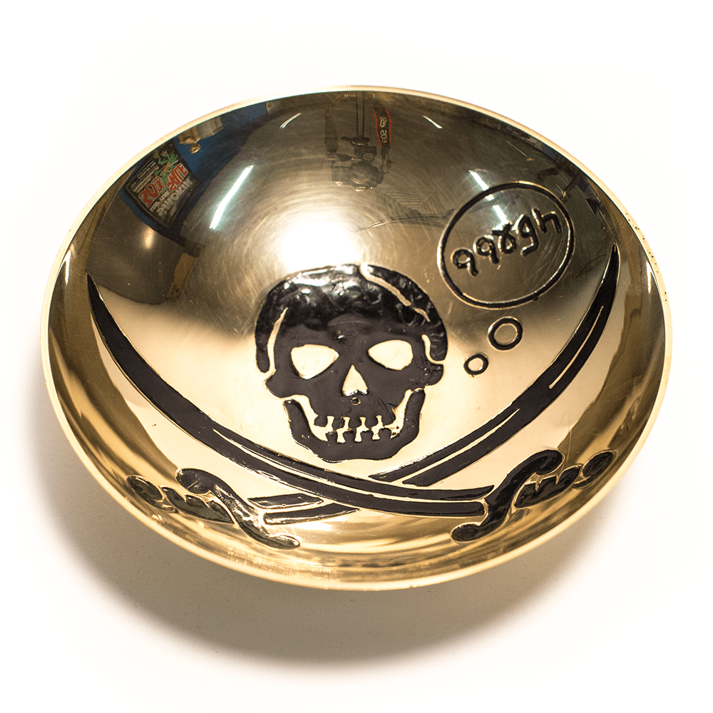BRASS BOWL - PIRATE SKULL 20CM