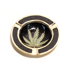 BRASS ASH TRAY - BLACK LEAF