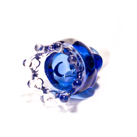 GLASS CONE - XL SKULL WITH CROWN 14MM BLUE