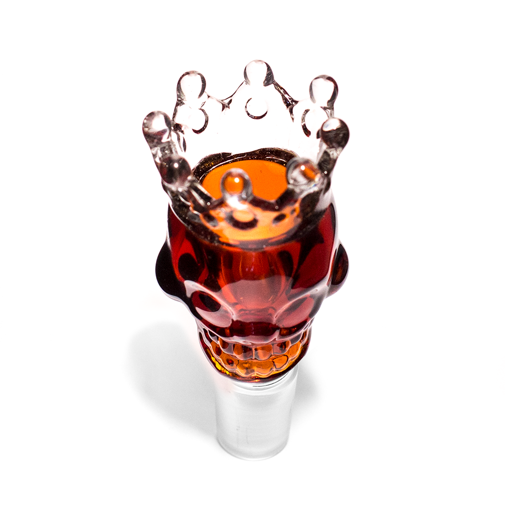 GLASS CONE - XL SKULL WITH CROWN 18MM AMBER