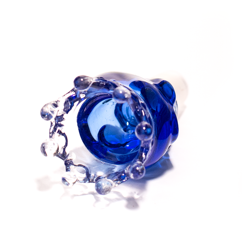 GLASS CONE - XL SKULL WITH CROWN 18MM BLUE