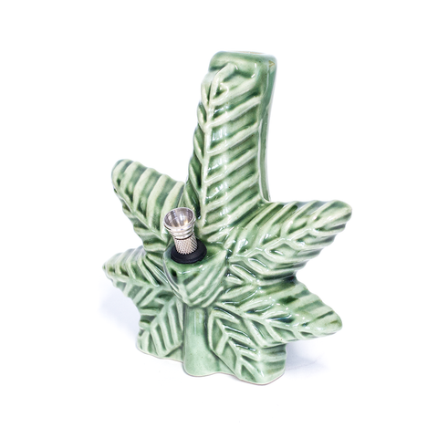 CERAMIC BONG - TEXTURED WEED LEAF GREEN
