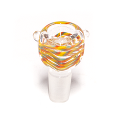 GLASS CONE - SQUARE - RED, BLUE & YELLOW SWIRLS - 18MM