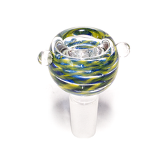GLASS CONE - DARK BLUE & YELLOW SWIRLS - 14MM