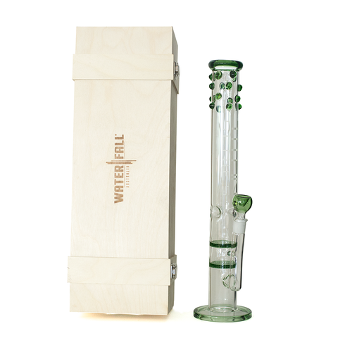 TITAN SERIES - GREEN STUDDED DOUBLE HONEYCOMB ICE GLASS BONG - DELUXE WOODEN BOX EDITION
