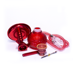 HOOKAH - 1 HOSE - ROUND RED