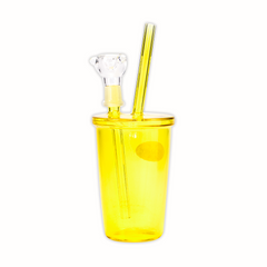 PLANET X  - SHAKE CUP GLASS BONG - BRIGHT YELLOW