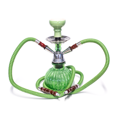 SMALL 2-HOSE HOOKAH - WATERMELON BASE - GREEN