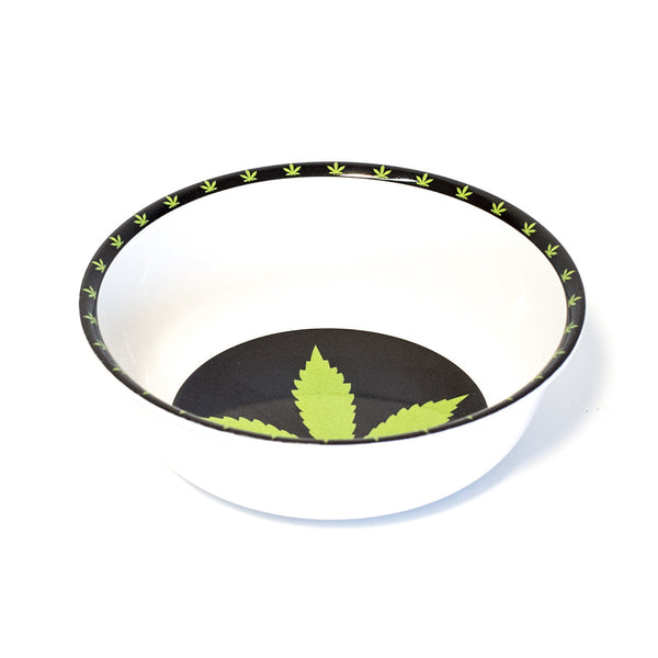 BOWL - MELAMINE BLACK & GREEN LEAF