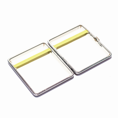 CIGARETTE CASE - LIGHT BROWN, SILVER FRAME 95MM X 85MM
