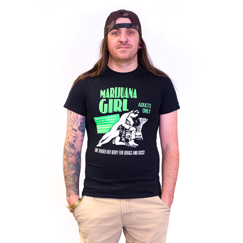 TSHIRT - MARIJUANA GIRL HIGHLINES BLACK