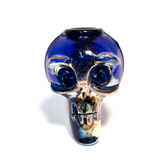SKULL GLASS DRY PIPE - BLUE