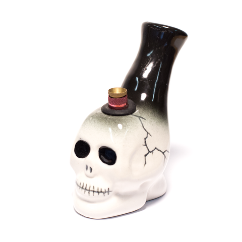 WHITE SKULL CERAMIC BONG - BLACK BONZA