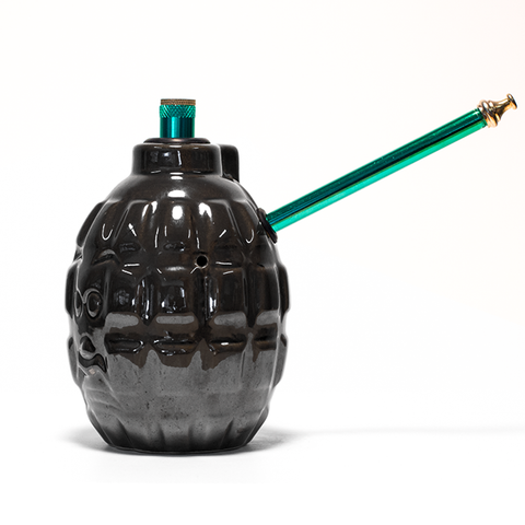 GRENADE METALLIC CHARCOAL CERAMIC BONG