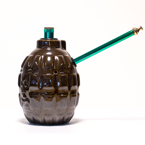 GRENADE BROWN CERAMIC BONG - STD STEM