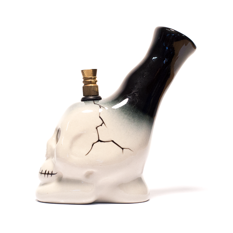 WHITE SKULL CERAMIC BONG - BLACK STD