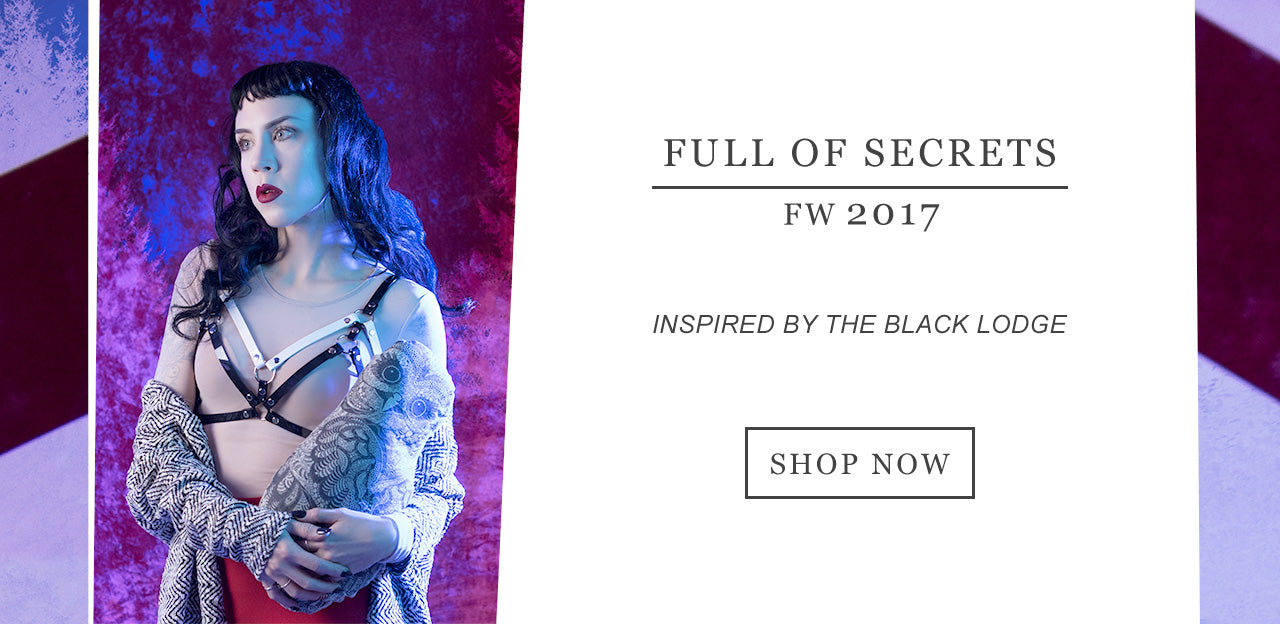 "Apatico FW2017 Collection ""Full of Secrets"" - harnesses & adornments inspired by Twin Peaks.  Seattle fashion design, handmade by Megan Bishop."