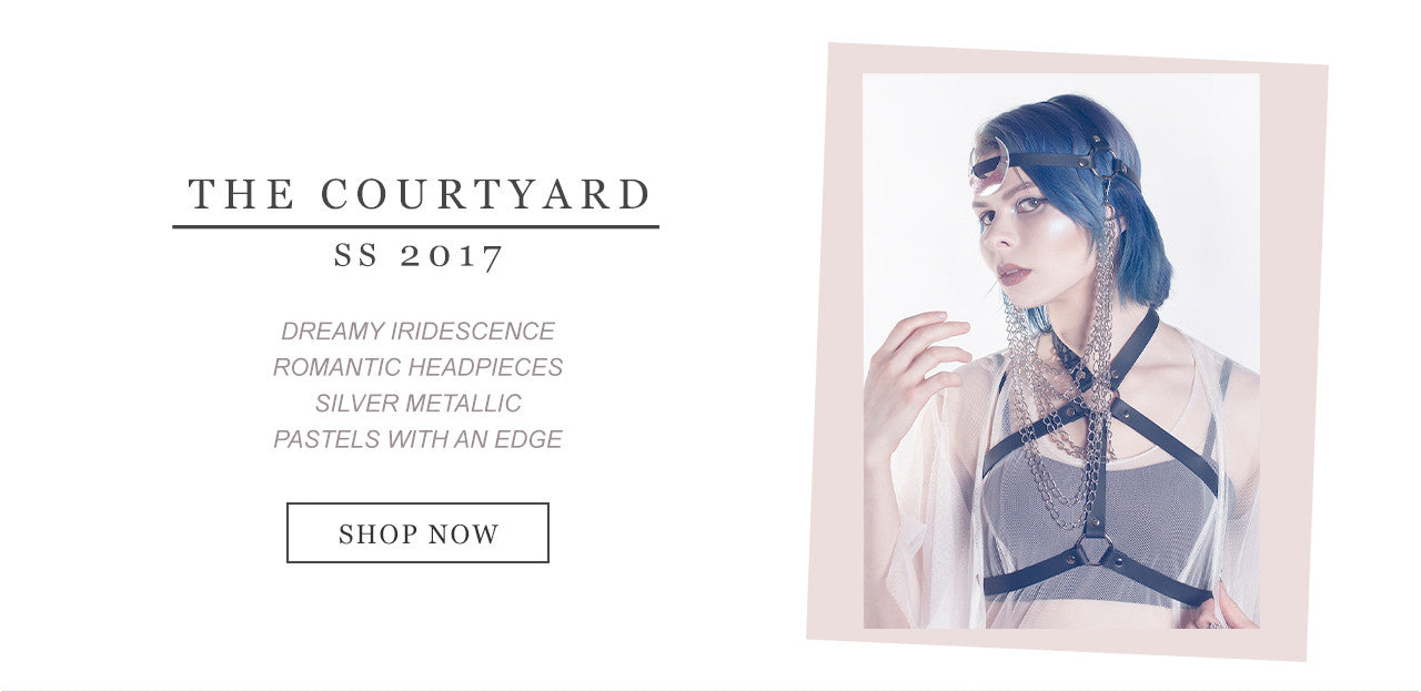 Apatico SS2017 - The Courtyard - available now!  Silver leather, dreamy florals, iridescent & holographic harnesses, belts, chokers, headpieces, & accessories contrast with matte black leather and chain details.