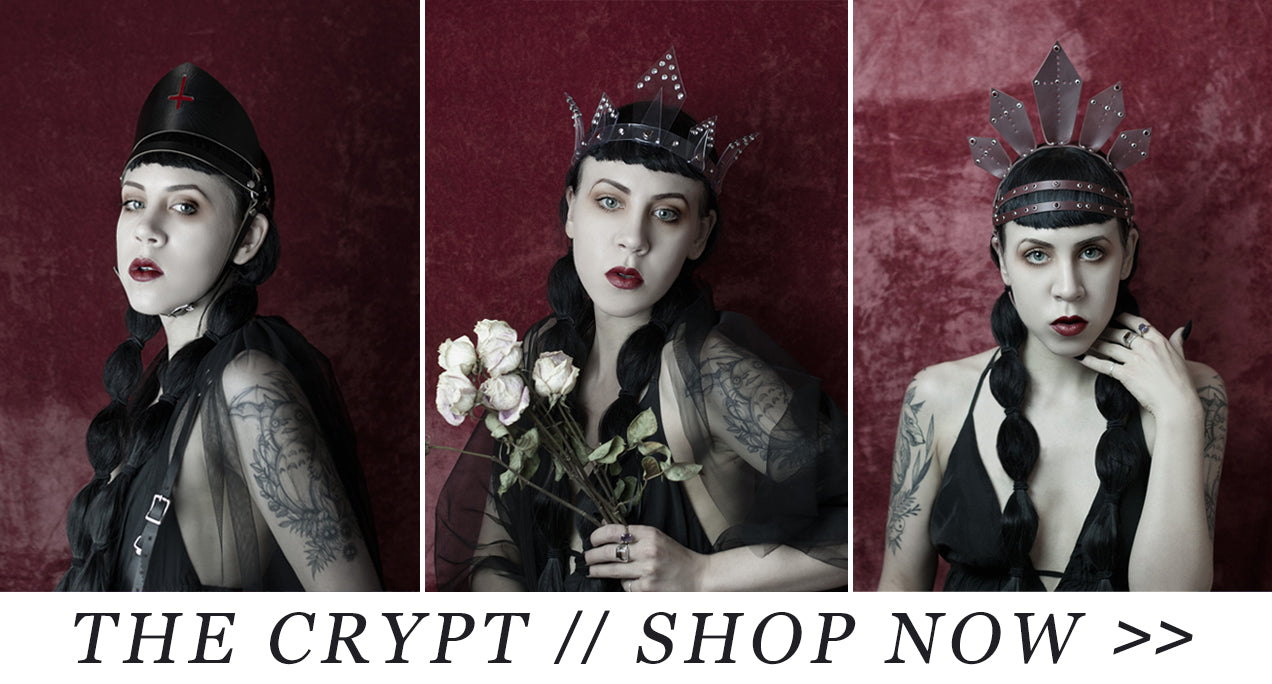 apatico - leather harness - cape - crowns and headpieces - the crypt fw2016 - gothic accessories