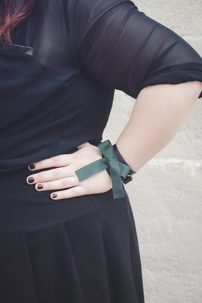 Samantha Rei x Apatico Leather Ribbon Bow Cuff Bracelet